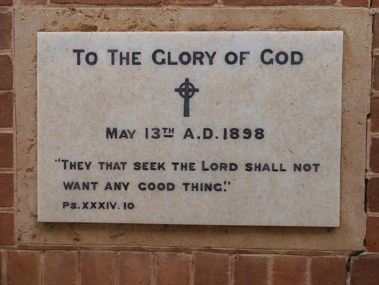 The Foundation Stone at St Columba's Church.