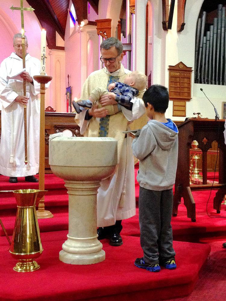 A baptism service at St Columba's.